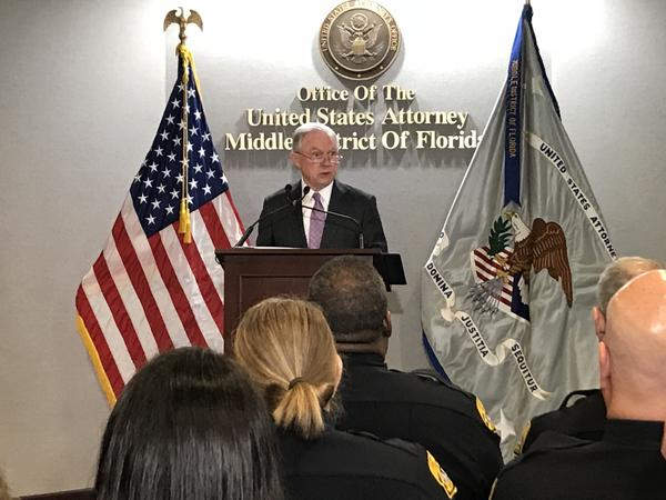 Attorney General Jeff Sessions talked about the nation's opioid crisis at the U.S. Attorney's Office in Tampa Wednesday.