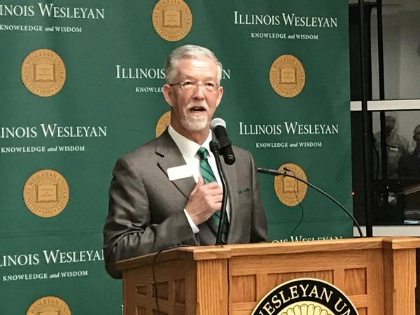 Illinois Wesleyan University President Eric Jensen announced the McLean County Scholarship initiative Wednesday evening at the Shirk Center.