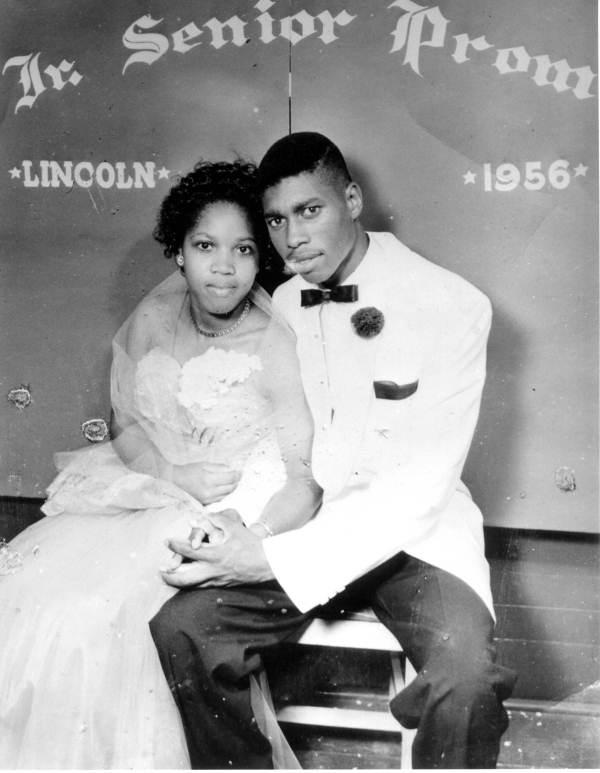 Barney Lockley and Laura Morris at the 1956 Lincoln High prom.