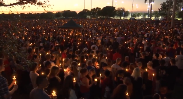 A vigil was held Thursday night to mourn the 17 victims in the Parkland school shooting. Fourteen high school students were killed in the massacre.