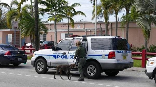 A Miami-Dade Schools Police K-9 unit responds to an incident at Frances S. Tucker Elementary School in 2016.