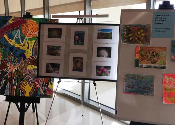An exhibit of veterans' artwork greets vistors in the lobby of the Bay Pines VA Mental Health Center.