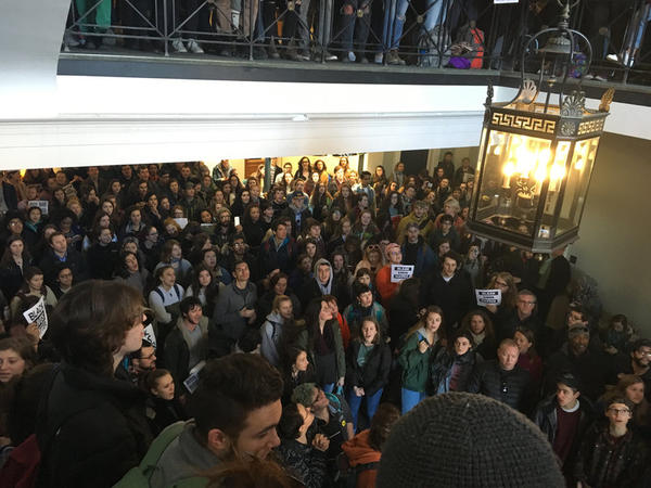 Students gather in the Waterman building lobby during a walkout Monday afternoon.