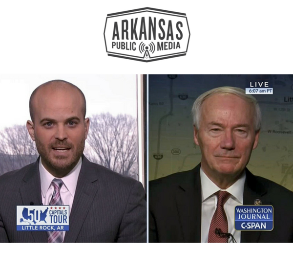 Arkansas Gov. Asa Hutchinson (right) told CSPAN moderator John McArdle on Washington Journal that Arkansas's budget, and specifically its Revenue Stabilization law, is a model for the country.