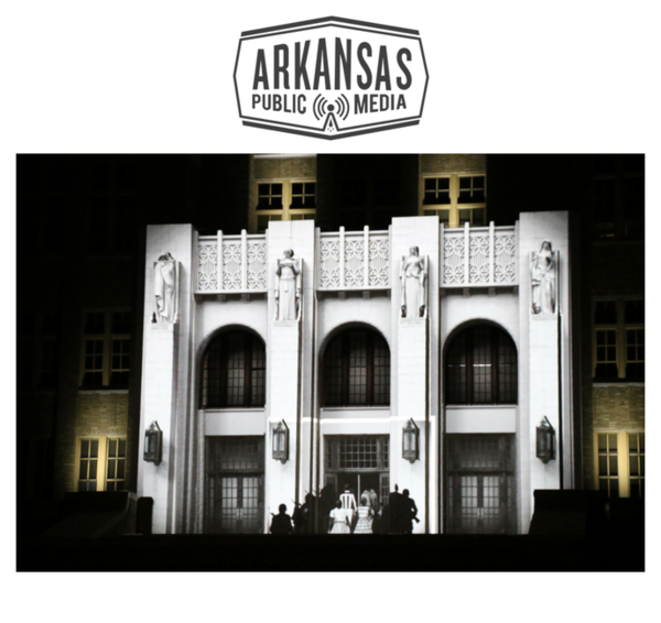 """From a projection on to Little Rock's Central High School Sunday night called """"Imagine if Buildings Could Talk"""""""