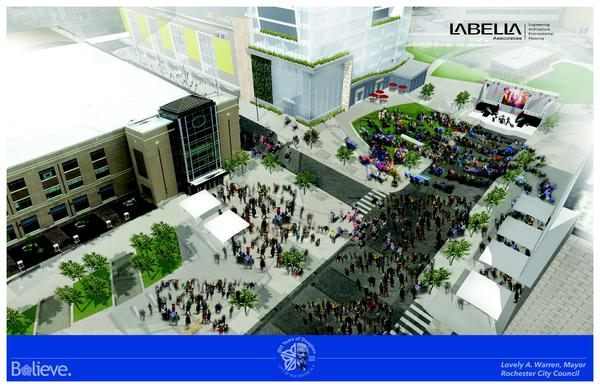 Overhead rendering of the proposed Parcel 5 project