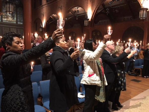 Survivors and family members of victims of gun violence attend the fifth annual candlelight vigil against gun violence at St. Mark's Episcopal Church in Washington, D.C., Wednesday night.
