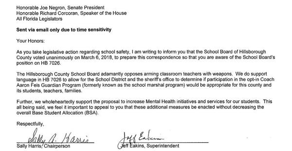 Copy of the letter sent to Florida lawmakers from Hillsborough County Public Schools, opposing the program to arm school personnel.