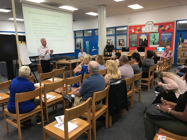 Dozens of teachers and counselors attended the session at Coral Springs Middle School. No one was from Marjory Stoneman Douglas but many had connections to the school and the shooting victims.