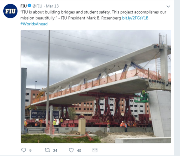 On Tuesday, FIU tweeted about the new pedestrian bridge