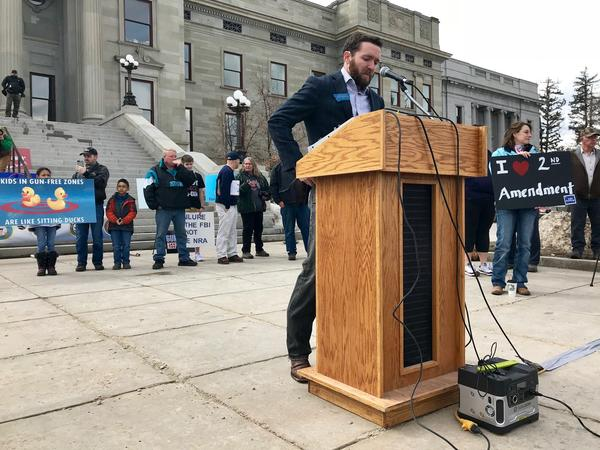 Montana state Republican Rep. Seth Berglee speaks at the March for Our Guns rally in Helena. He said he wants to reintroduce legislation that would let teachers with a concealed weapons permit bring handguns to school.
