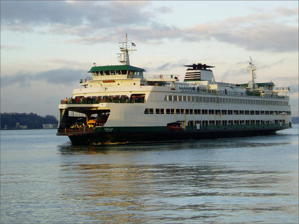The MV Puyallup is one of three Jumbo Mark II state ferries under study for possible conversion from diesel to battery-electric power.