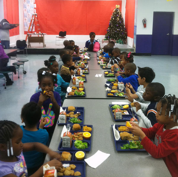 Tamara Burney's kindergartners eat lunch in the Hillview Elementary cafeteria in Jefferson County, Ala.