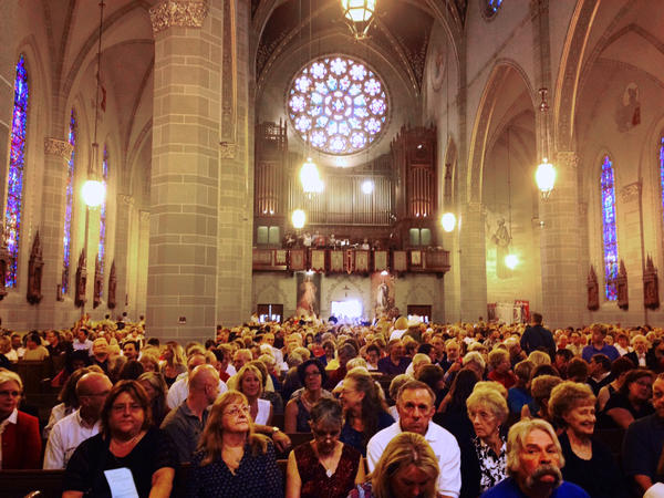 """A """"Mass mob"""" fills St. Florian Church in Hamtramck, Mich. The church can seat 1,500 people, but normally only about 200 people attend noon Mass."""