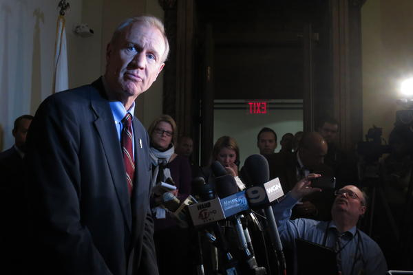 Then Gov.-elect Bruce Rauner speaks with Statehouse reporters in this 2015 file photo.