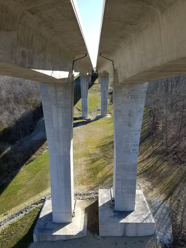 Crews rappel the bridge piers every five years to give the whole structure a thorough look.