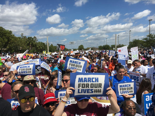 A sea of marchers take up all eight lanes of Pine Island Road in Parkland for the March For Our Lives event there Saturday.