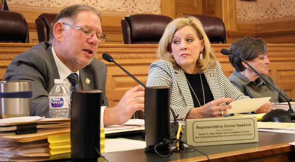 Rep. Dan Hawkins, left, a Wichita Republican, and other GOP legislators on an oversight committee this week approved the Brownback administration's proposal to seek renewal of its privatized Medicaid program for five years.