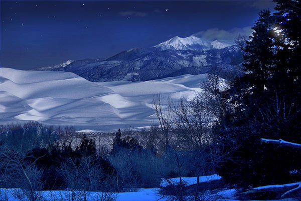 The Great Sand Dunes National Park and Preserve on a snowy December night in 2014.