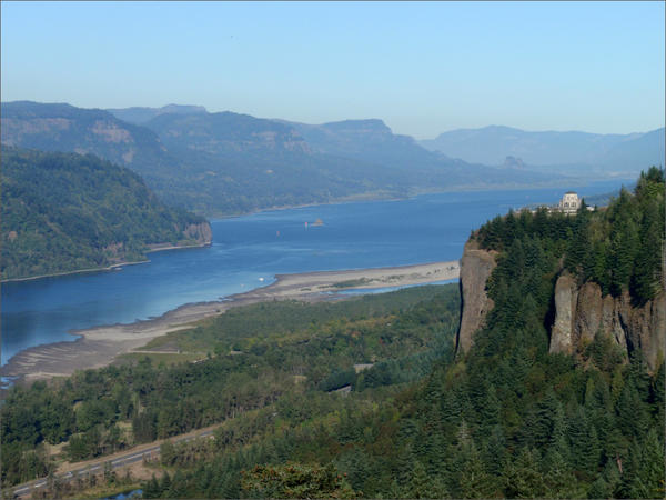 State parks on the Washington side of Columbia Gorge (far shore in this photo) are expected to be mobbed on weekends until more trails on the Oregon side reopen.