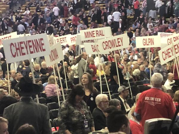 Delegates on the floor of the Coors Events Center at the Republican state assembly.