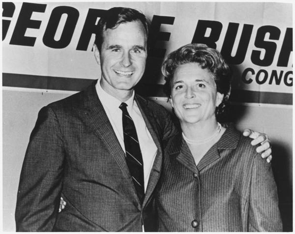George and Barbara Bush in Houston, Texas on the night George Bush was elected to Congress.