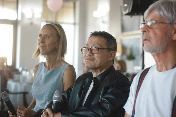 PD Inspiration members Ingrid Friesen, Keith Wang and Adam Paley perform improv in front of an audience for the first time.