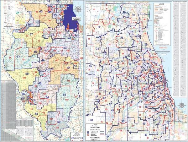Illinois state legislative maps, drawn in after the 2010 Census