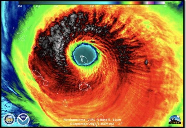 Hurricane Irma at peak intensity, as the hurricane hit Barbuda.