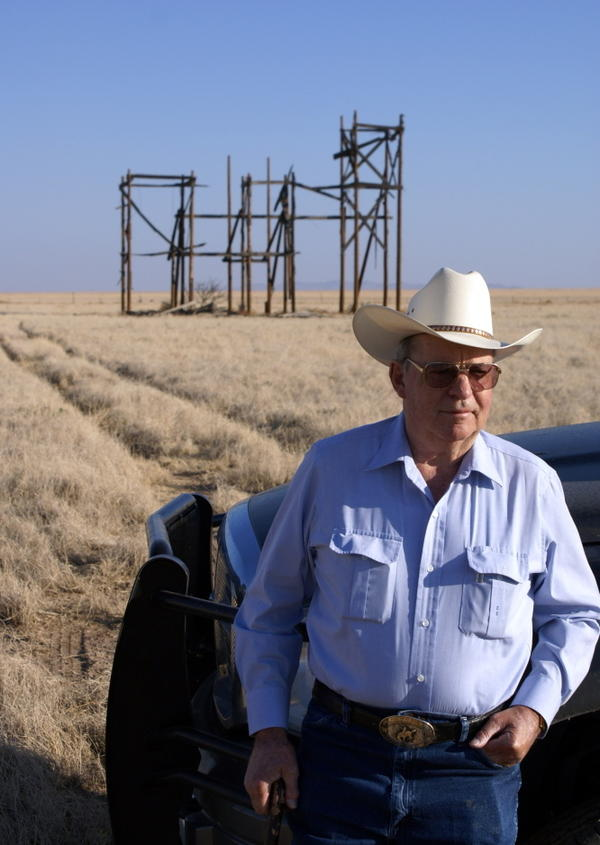 Clay Evans stands before the ruins of the mansion built for the 1956 film <em>Giant</em>. Evans, whose family has owned the ranch since back before the movie was filmed, recently put it up for sale.