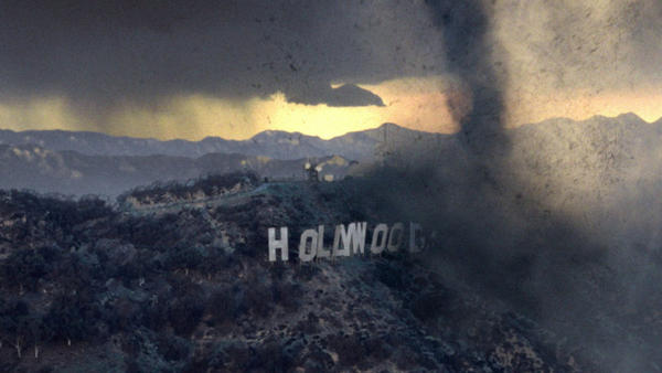 A tornado destroys the Hollywood sign (and everything it stands for) in the 2004 film <em>The Day After Tomorrow.</em>