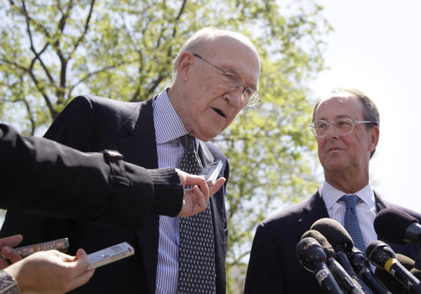 The co-chairmen of the president's deficit reduction commission, Erskine Bowles, right, Alan Simpson, talk to reporters outside the White House in April.