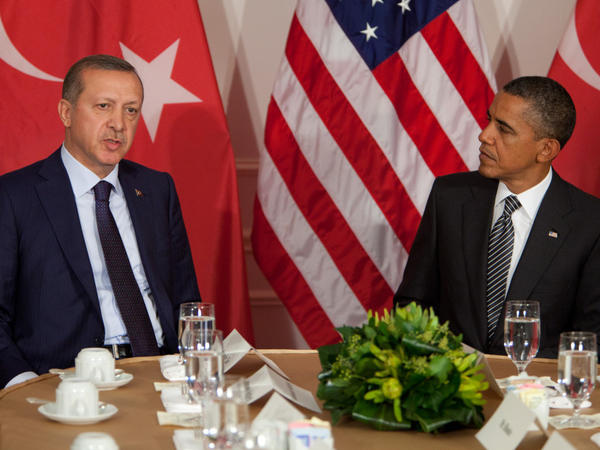 President Obama meets with Turkish Prime Minister Recep Tayyip Erdogan on Tuesday in New York City. The two men discussed the Palestinian issue only after  reporters had left the room.