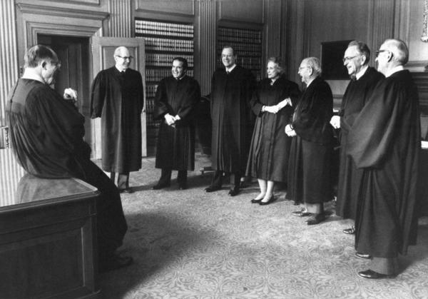 <p><strong>February 1988:</strong> Chief Justice William Rehnquist (left) gathers with the court before the investiture of Anthony Kennedy. From left: Rehnquist, Byron White, Antonin Scalia, Kennedy, Sandra Day O'Connor, William Brennan, Harry Blackmun and John Paul Stevens.</p>