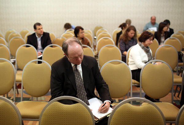 <p>A job seeker makes a list of his skills during a workshop in Burlingame, Calif., targeted toward people who have been out of work for at least six months. According to the Labor Department, there are now more than 2 million people who have been jobless for at least two years.</p>