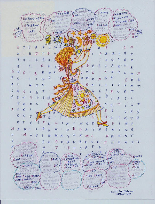 <p>Language drives Johnson's art since her illness, as depicted in her piece called <em>Enthusiastic,</em> created in 2009.</p>