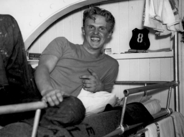 <p> Ordinary Seaman Richard Quincy, then 22, is seen aboard the SS Montebello. Quincy, now 92, is the last remaining survivor of the sinking of the SS Montebello.</p>