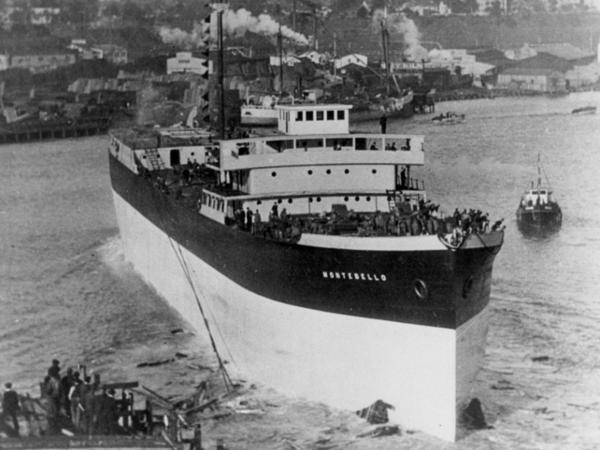<p>The SS Montebello, shown in its glory days, was torpedoed by a Japanese submarine during World War II.</p>
