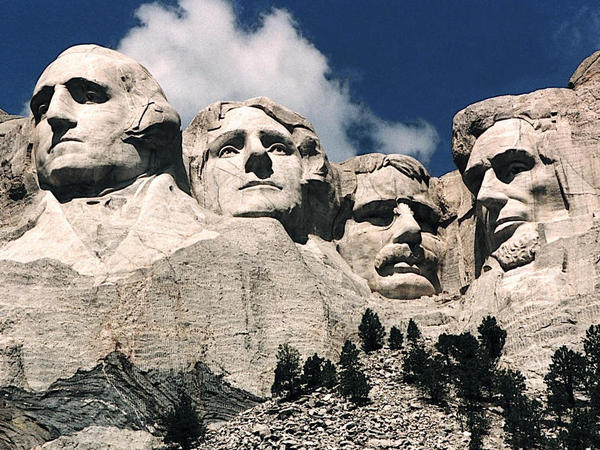 <p>It took 14 years for stone carvers to create the Mount Rushmore monument, seen here in 1995. Gloria Del Bianco's father, Luigi, led the carving team.</p>