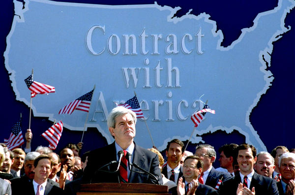 "In September 1994, then-House Minority Whip Newt Gingrich addressed Republican congressional candidates on Capitol Hill during a rally where they pledged a new ""Contract with America."" Months later, Republicans gained control of both houses of Congress for the first time in decades, and Gingrich became speaker of the House."