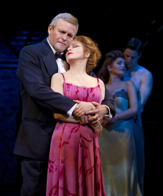<strong>Now and then:</strong> Ron Raines and Bernadette Peters sing passionately of a less cynical time, while their younger selves (Lora Lee Gayer and Nick Verina) hover in the half-light.
