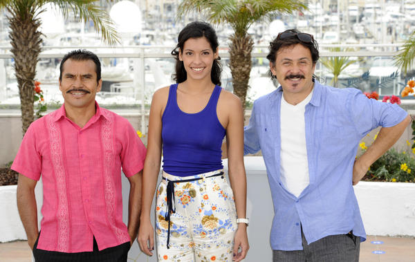 From left to right, <em>Miss Bala</em> actors Noe Hernandez, Stephanie Sigman and director Gerardo Najanjo pose during the 64th international film festival, in Cannes, southern France. <em>Miss Bala</em> will represent Mexico in search of a nomination to the Oscars as best foreign language film.
