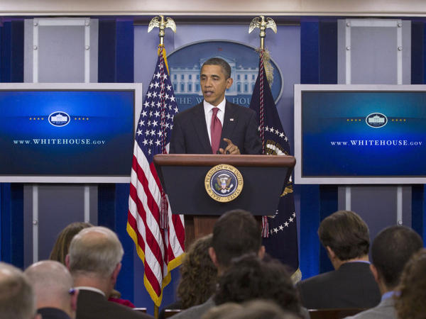 President Barack Obama talks about extending payroll tax cuts on Monday in the White House briefing room.