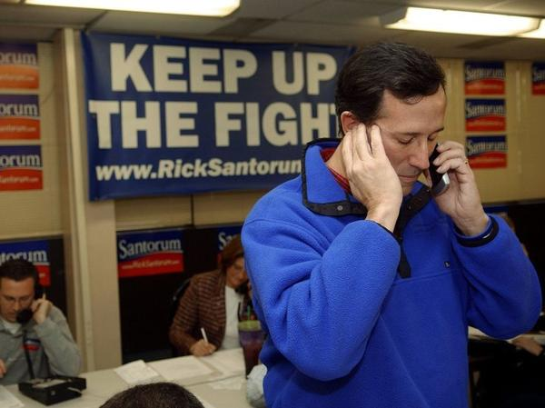 Rick Santorum receives a call at his campaign headquarters during his Senate re-election bid in 2006. The former senator was attempting to keep his Pennsylvania Senate seat, which he later lost to Democrat Bob Casey Jr.