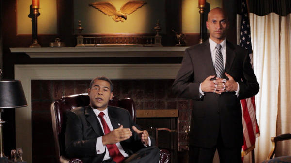 """Jordan Peele (left) plays President Obama and Keegan-Michael Key (right) plays his """"anger translator"""" in a sketch  from <em>Key & Peele,</em> premiering Jan. 31 on Comedy Central."""