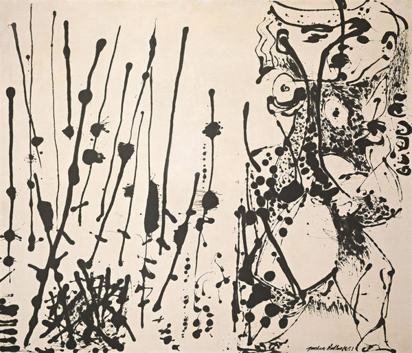 Influenced by Mexican and Native American art, Pollock popularized action-painting and drip style, as seen in<em><em> Number 7, 1951.</em></em><em><em> </em></em>