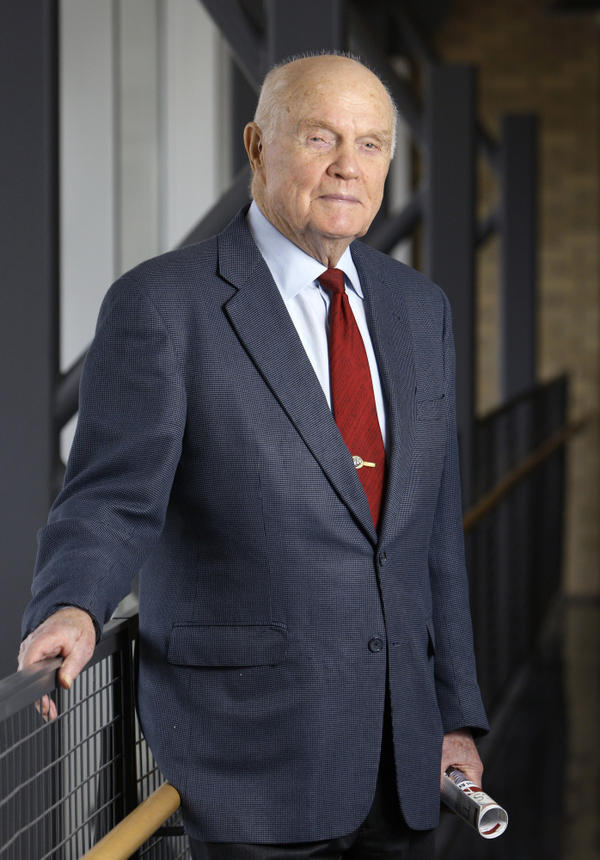 As a U.S. senator at age 77, Glenn also became the oldest person in space by orbiting Earth with six astronauts aboard the space shuttle Discovery in 1998.