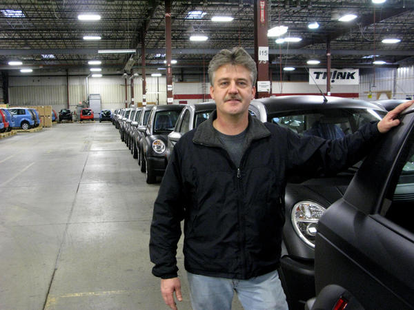Supervisor Rodney Smith is one of only two workers still working at the Think electric car plant in Elkhart.