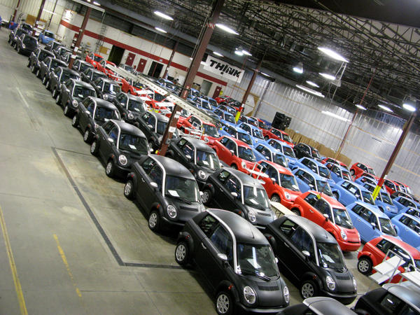 Most of these electric cars on the Think factory floor in Elkhart, Ind., are finished and ready to go, waiting to be sold. Some are merely waiting to be delivered to their new owners.