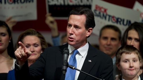 Republican presidential candidate Rick Santorum addresses an election night party in Steubenville, Ohio, on Tuesday.
